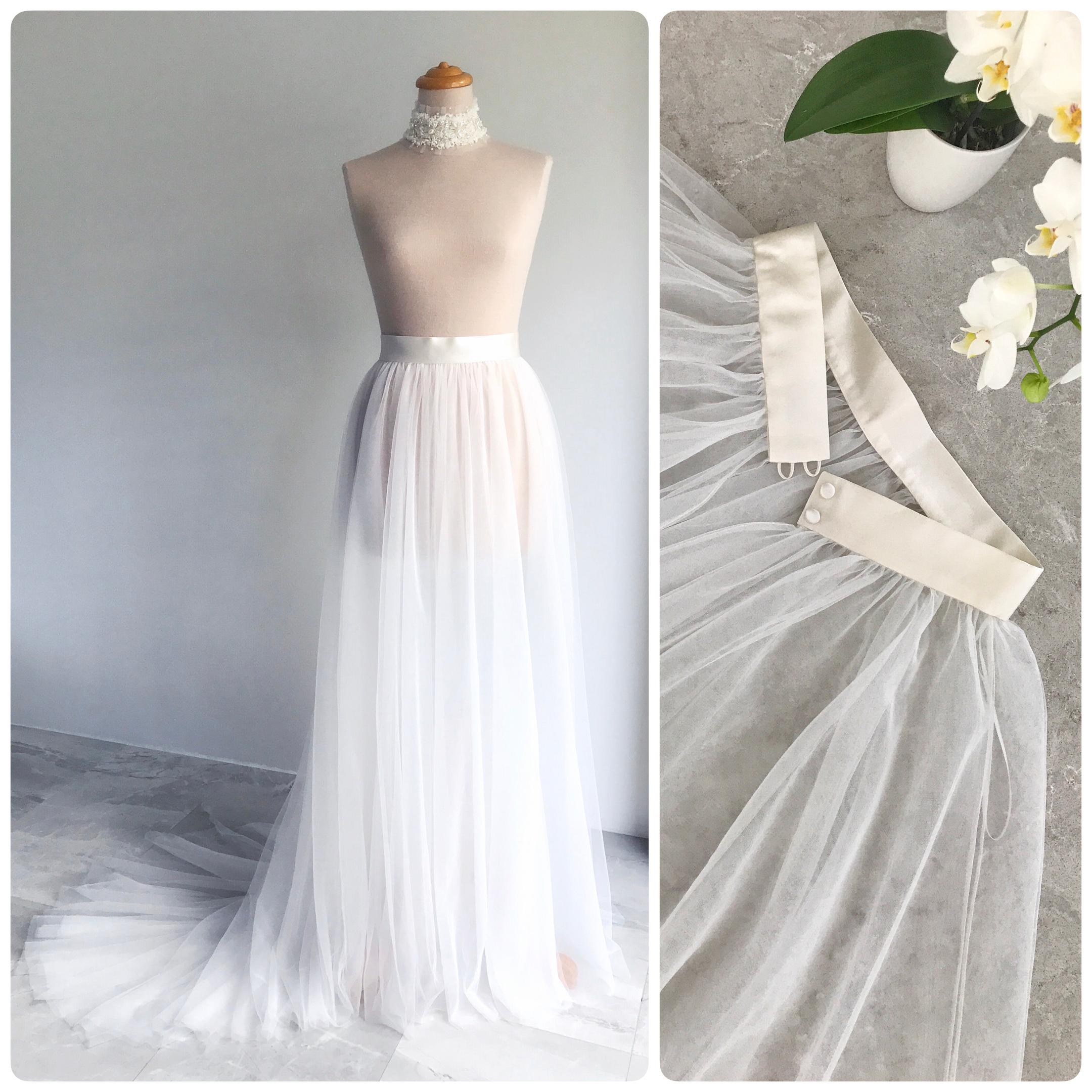 Bridal Tulle Skirt Overlay/ Full Length Tutu/ Floor Length