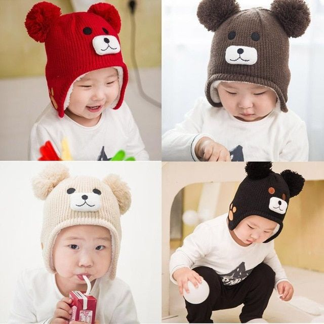c6692a3c New Baby Boys Girls Cute Warm Hat Cartoon Bear Kids Autumn Winter Hat  Children Warm Knitted Cap
