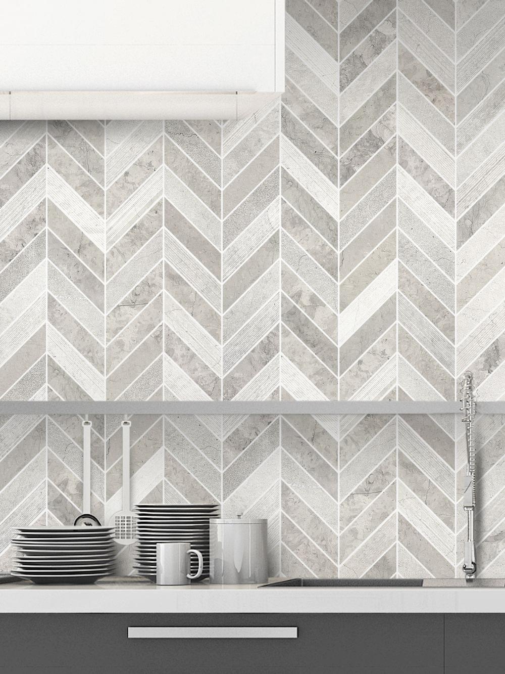 Gray Modern Limestone Chevron Backsplash Tile Backsplash Com In 2020 Bathroom Tile Designs Tile Backsplash Mosaic Backsplash Bathroom