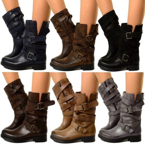 af8b0c95781e Biker Bottes Basic Femmes Cuir Military Boots Motard Bottines VINTAGE EFFET  505