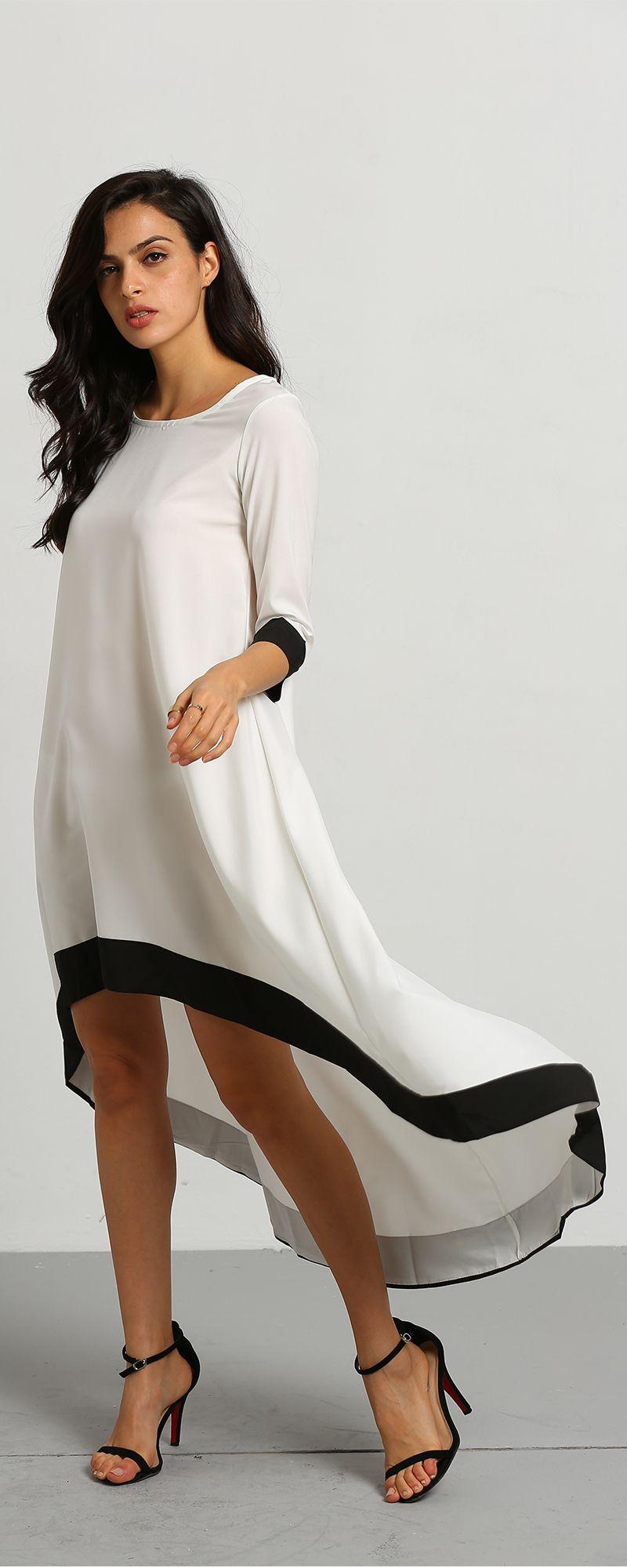 White Round Neck Contrast Trims High Low Dress - shein.com | Soak Up ...