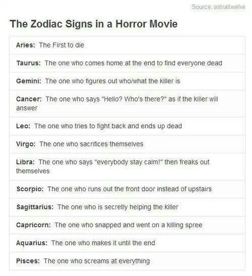 The zodiac Signs in a horror movie... Aries Pisces. LMAO ...