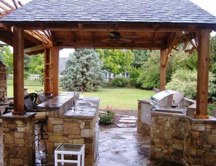 Genial Stone Outdoor Kitchen Gazebo
