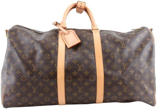 89ea642c08f1 Louis Vuitton Keepall Monogram Bandoulière 55 M41414 Brown Coated Canvas  Weekend Travel Bag - Tradesy