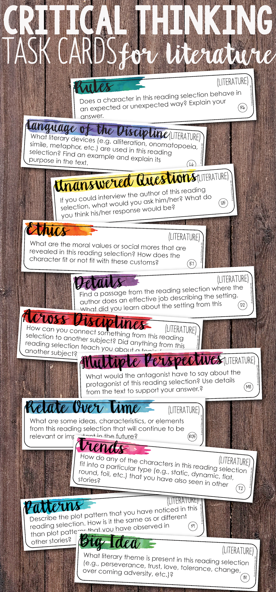 Add depth and complexity to your instruction with these critical thinking literature reading task cards