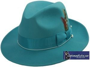 5b13f7e7fd3 Mens Turquoise Fedora Hat 100% Wool Untouchable Dress Hat 8345 ...