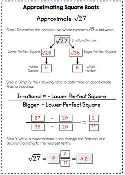 Estimating Square Roots Interactive Notes And Worksheet Estimating Square Roots Interactive Notes Square Roots