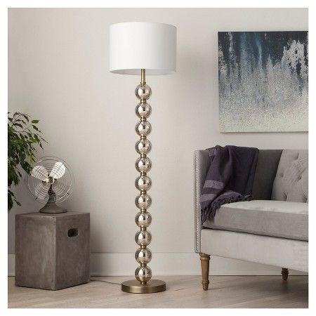 Mercury Glass Stacked Ball Floor Lamp Brass Threshold Brass