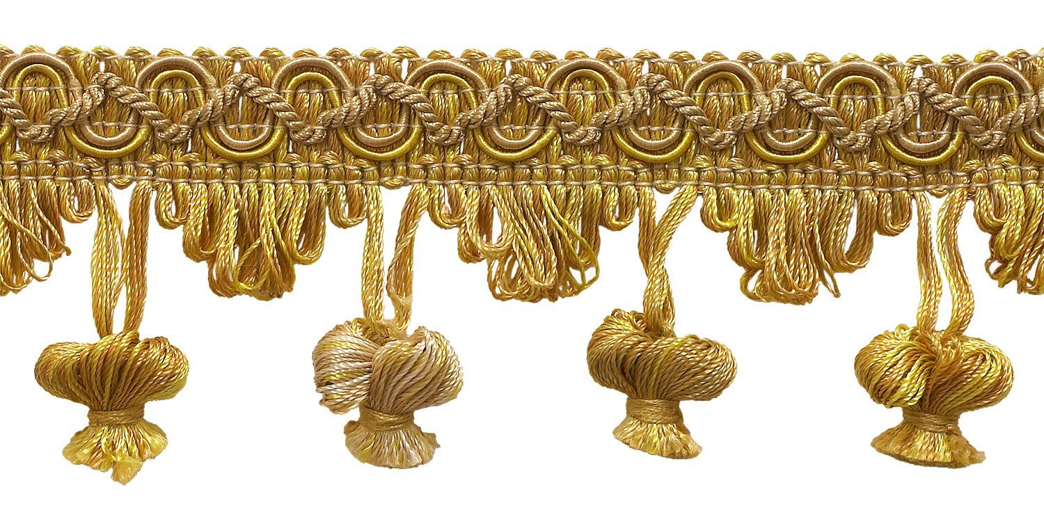 """Antique gold 2"""" Imperial II Onion Tassel Fringe Style# NT2503 Color: RUSTIC GOLD - 4975 (Sold by The Yard)"""