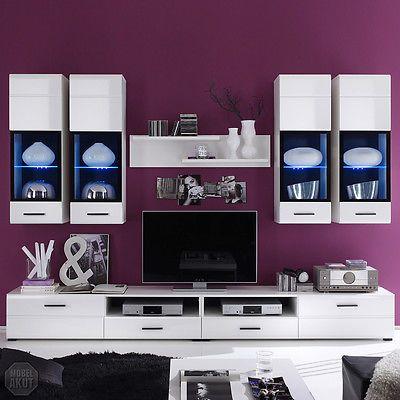 Ebay Angebot Wohnwand Attac 4 Anbauwand Wohnzimmer In Weiss Hochglanz Mit LEDIhr QuickBerater