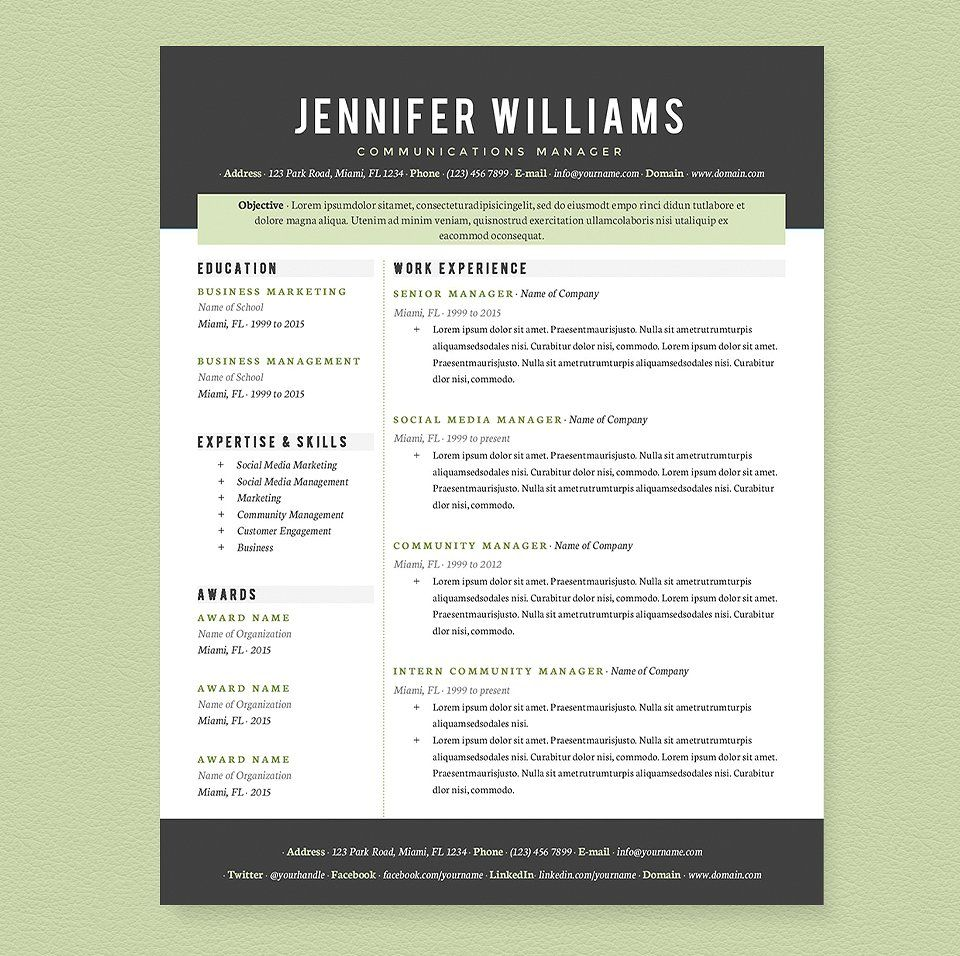 Professional Resume Template Pkg. by JannaLynnCreative on