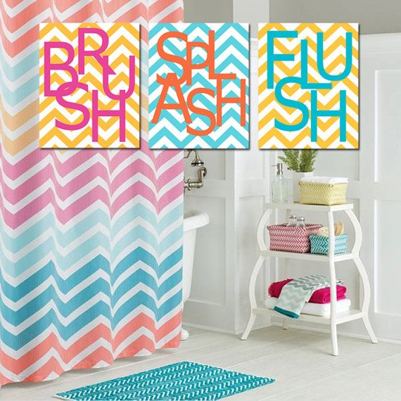 Kids Bathroom Decor Sets Wall Art Print Set Pick Three 11x14 Chevron