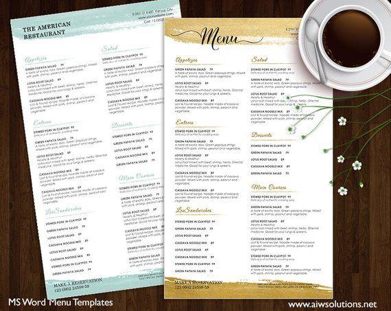 Drink Menu Templates, Printable Restaurant Menu Template, gold Menu