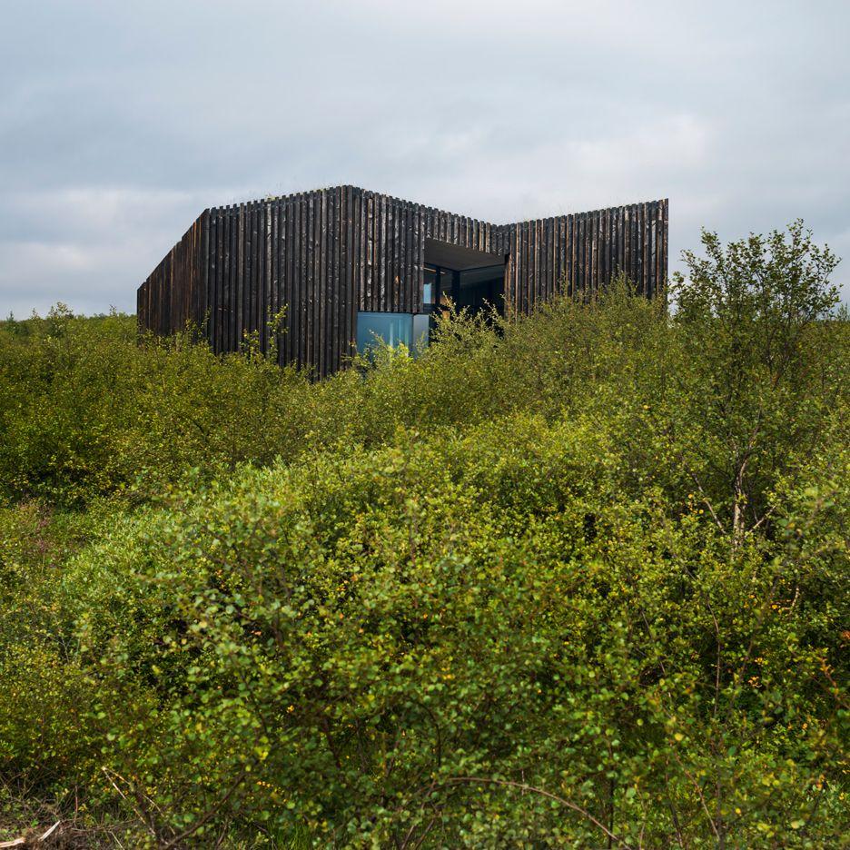 pk arkitektars icelandic cottages have burnt timber cladding