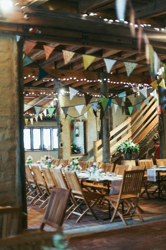 Barn wedding - Vintage style fabric and lace flag bunting 10 metres by LeeLoves