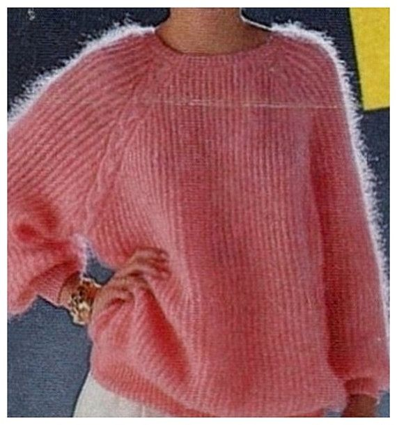 e1720a7cf Instant Download PDF Vintage Knitting Pattern to make Ladies Baggy Oversize Fishermans  Rib Sloppy Joe Sweater Pullover Top Bust 34-40