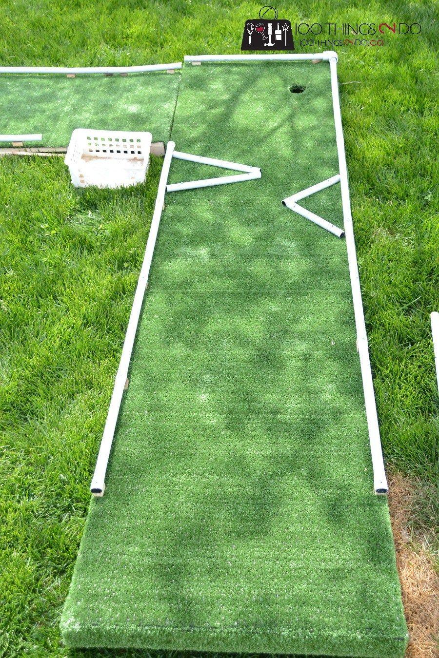 Diy Mini Golf Mini Golf Mini Putt Diy Mini Putt Backyard Games Backyard Fun Diy Backyard Games Golf Diy Mini Putt Backyard Putting Green Mini golf in my backyard