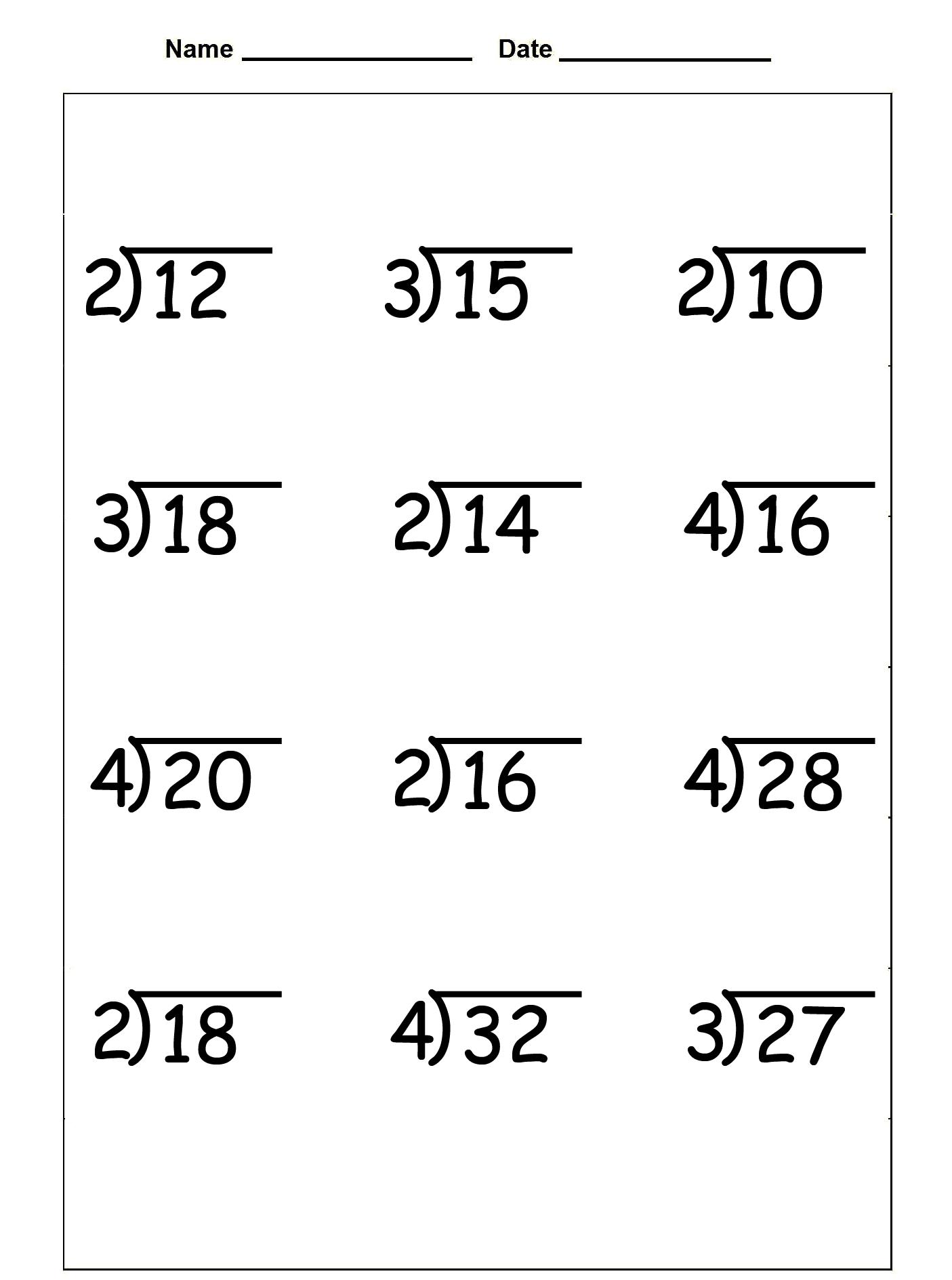 3rd Grade Division Worksheets