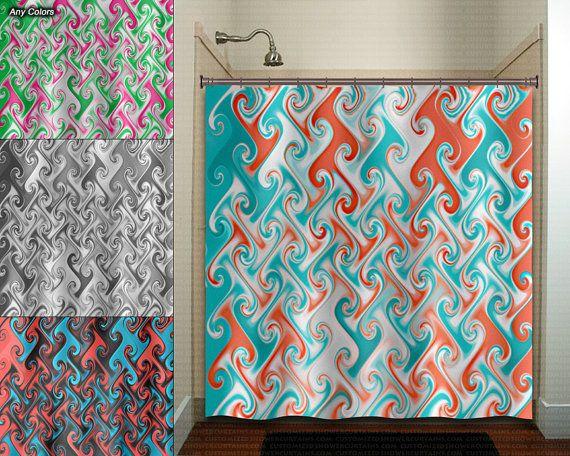 Aqua Coral Metallic Style Ebru Shower Curtain Extra Long Fabric Window Panel Kids Bathroom Decor