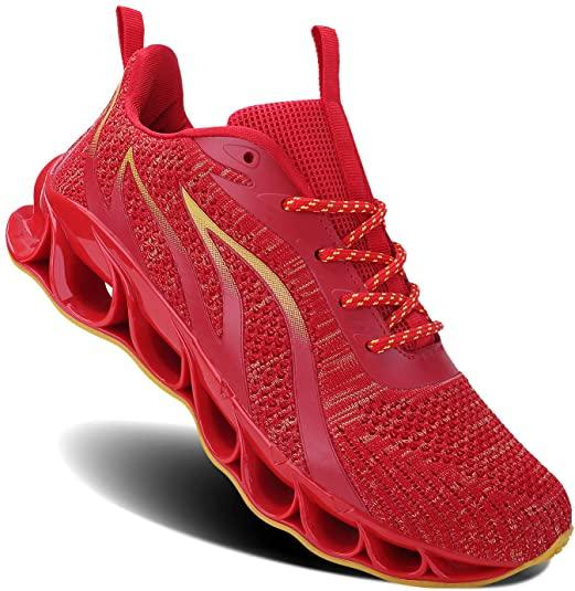Amazon Com Mosha Belle Men Athletic Shoes Mesh Blade Running Walking Sneaker 6red 9 Trail Running Men S Athletic Shoes Running Shoes Running