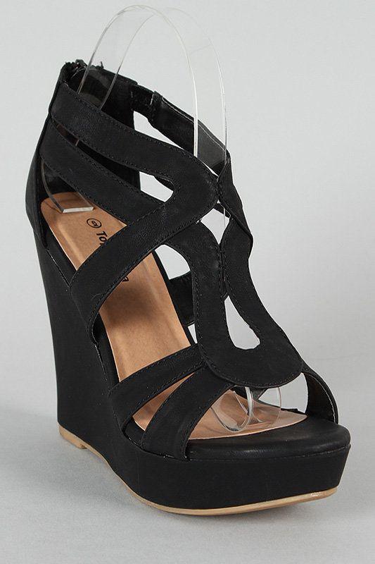 5e40af193e94 Lindy 03 Strappy Open Toe Platform Wedge Black 9
