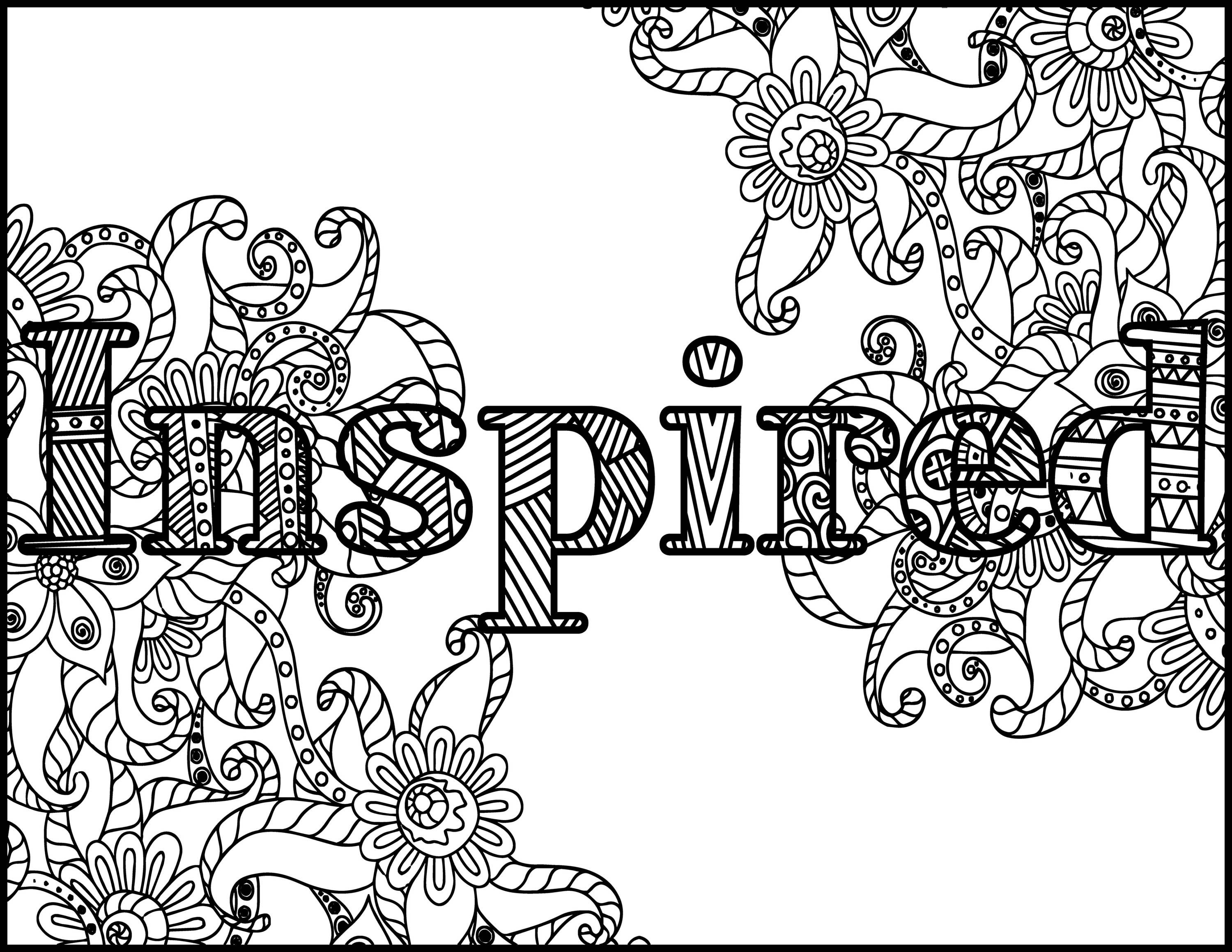 Inspired Adult Coloring Page - Positive Coloring Page - Coloring for ...