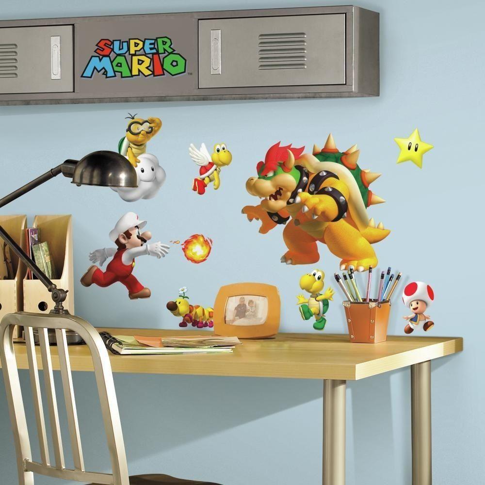 35 super mario nintendo game big wall decals stickers bowser yoshi room decor roommates