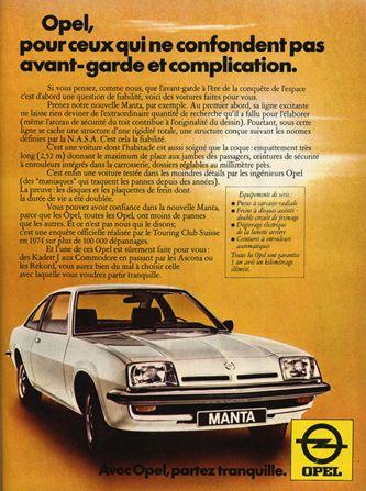 Opel Manta Vintage Ad Car Ads Vintage Cars Opel Manta