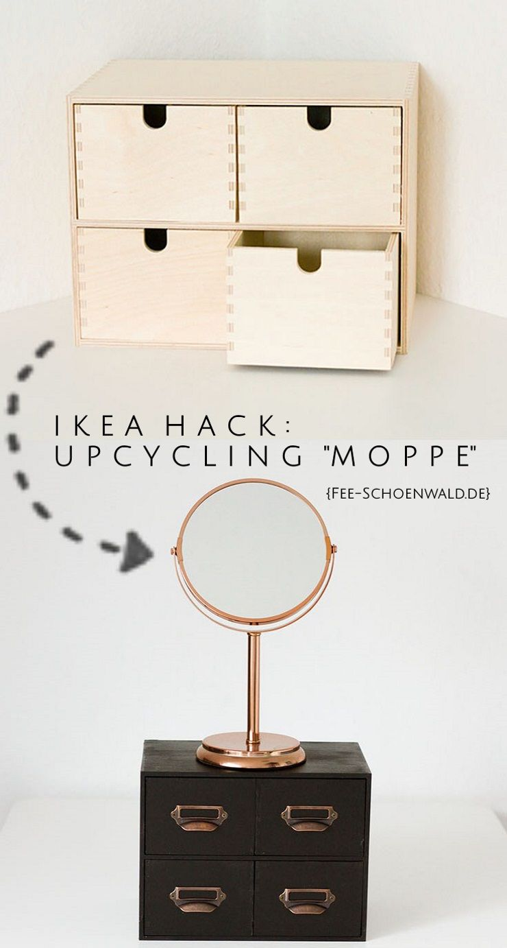 ikea hack diy schminkkommode moppe kupfer upcycling ikea. Black Bedroom Furniture Sets. Home Design Ideas