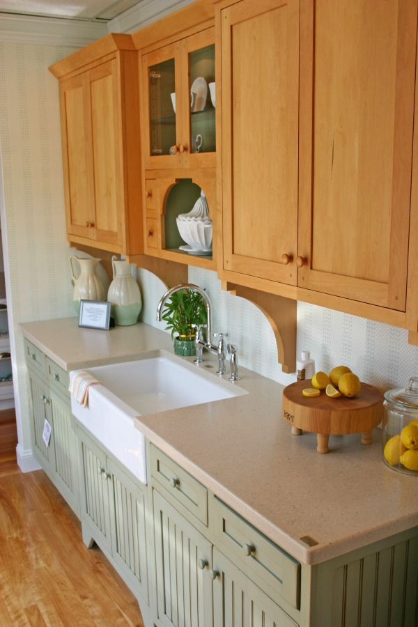 Love These Green Cabinets With This Countertop Stained Kitchen Cabinets Country Cottage Kitchen Kitchen Design