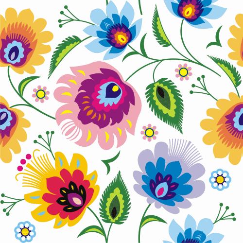 Tkanina Bawelniana Satyna Wzory Lowickie 4474561943 Oficjalne Archiwum Allegro Folk Art Flowers Polish Folk Art Folk Embroidery