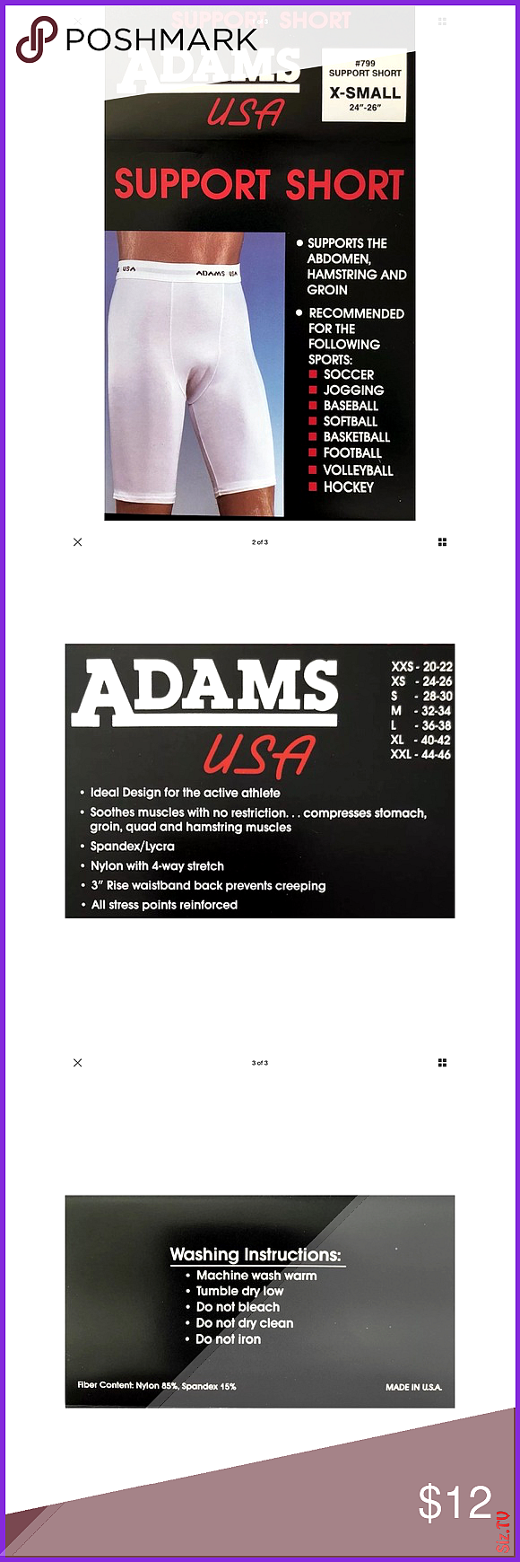 Adams USA Athletic Compression Shorts XS 24  -26 New without box in sealed package Smoke free home W...