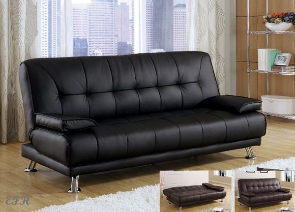 New Benson Black Or Brown Bycast Leather Futon Sofa Bed Futon Sofa Leather Futon Futon Sofa Bed