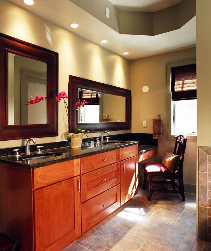 This master bath has a his and hers vanity and a built in for Bathroom designs with dressing area
