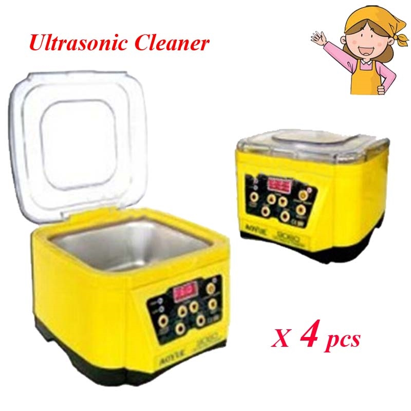 405.36$  Buy here - http://alifyp.worldwells.pw/go.php?t=32670910609 - 4pcs/lot Ultrasonic Cleaner 1L 70W 220V/110V Ornaments Component Household Cleaner for Home Appliance Yellow AOYUE 9060 405.36$