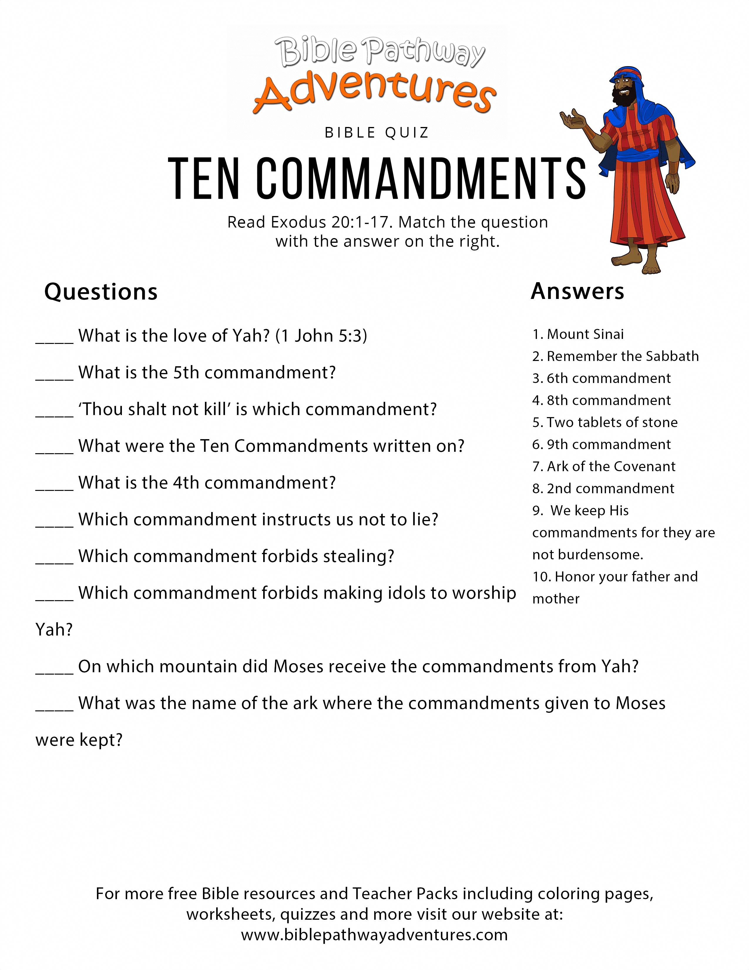 Bible Quiz For Kids Ten Commandments