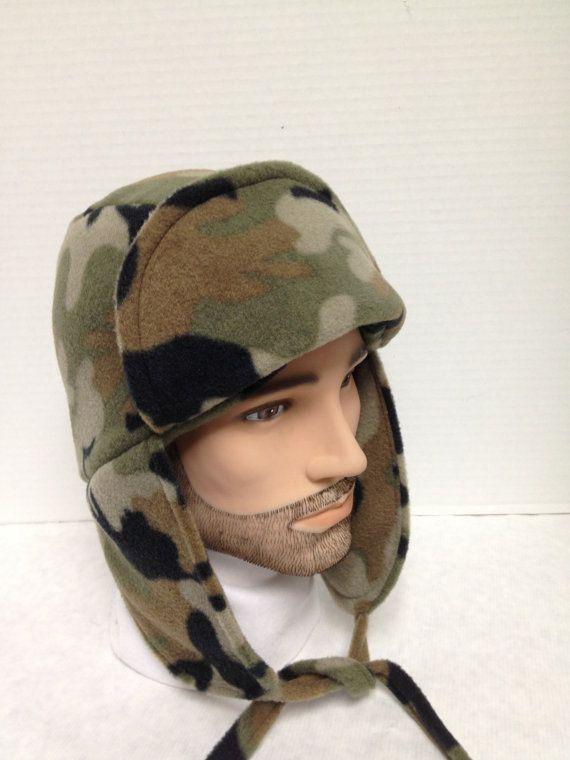 Reversible Camo Lumberjack Ear Flap Hat Unisex by FleeceHatsGalore, $30.00