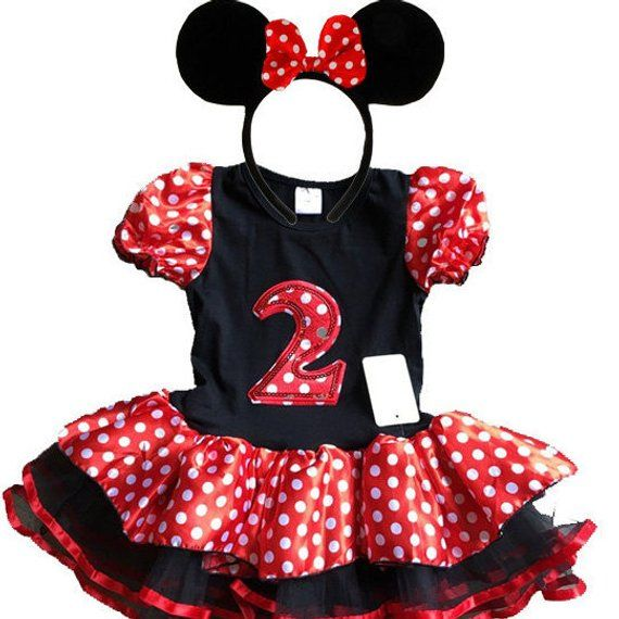 46aa2b714 Minnie Mouse Red Birthday Dress 2 year old + FREE Headband Girl Baby Toddler