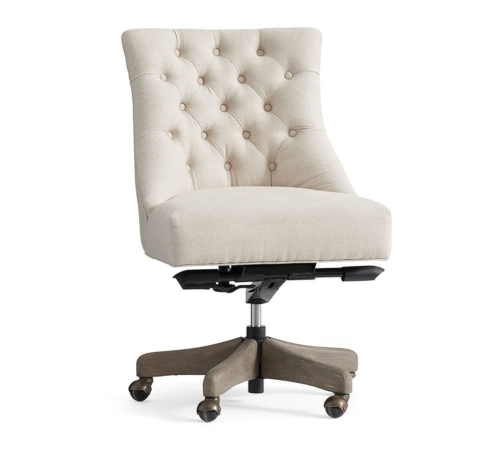 Hayes upholstered tufted swivel desk chair with gray wash