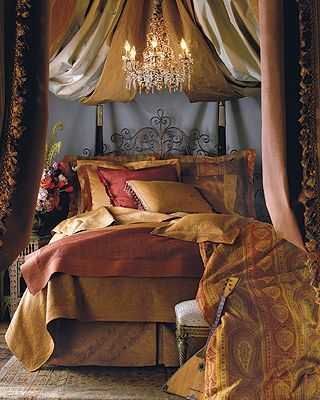 red and gold boho bedroom