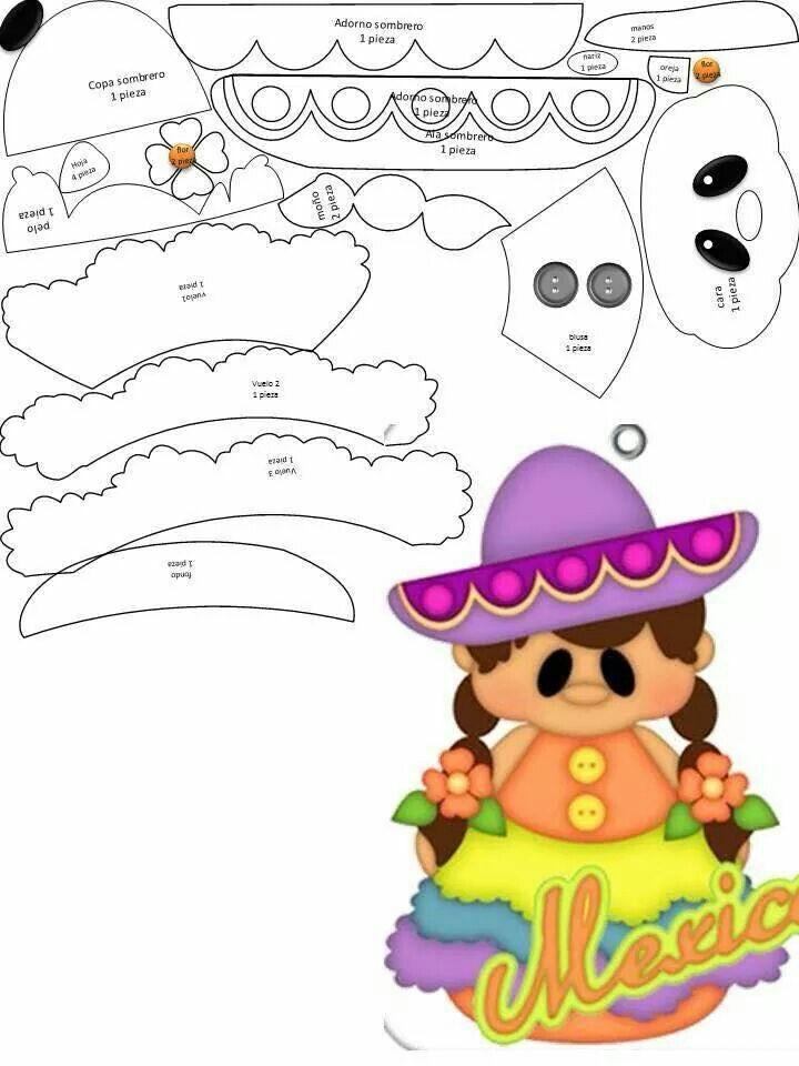 Aplique menininha mexicana