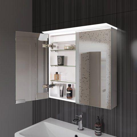 612mmx600mm pheonix illuminated led mirror cabinet with shaver socket