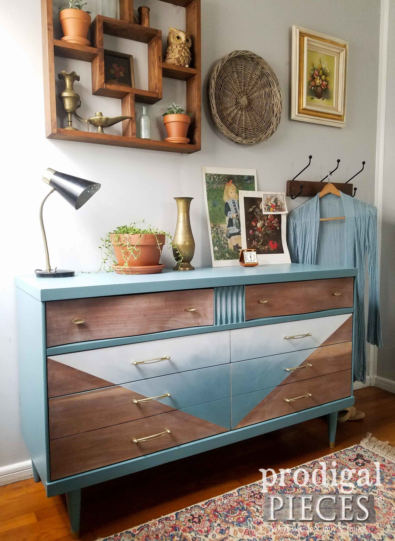 Blue Ombre Mid Century Modern Dresser With Boho Style By