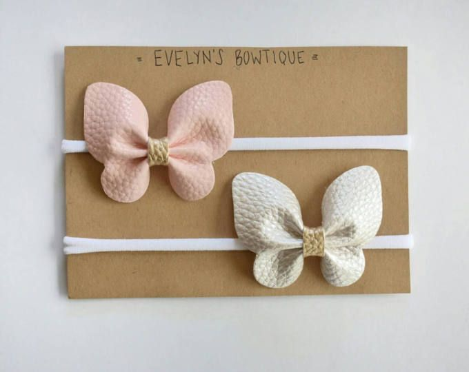 Baby bow headband Butterfly hair bows Newborn headband Baby hair clips Butterfly bow headband Faux leather hair bows Baby bows