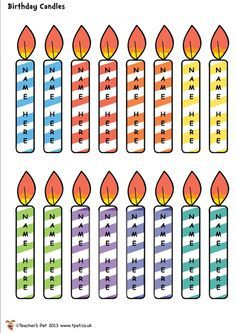 Free editable birthday candles for matching cupcakes also rh pinterest