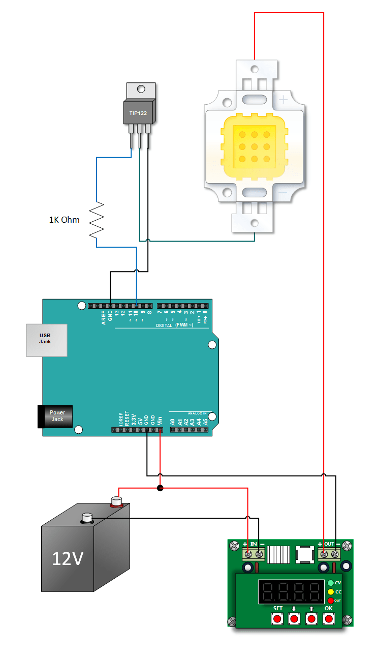 10W LED Arduino Tutorial Hook Up | Arduino projects