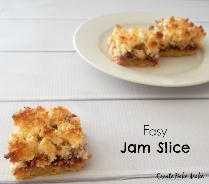 Simple Jam and Coconut Slice - Create Bake Make