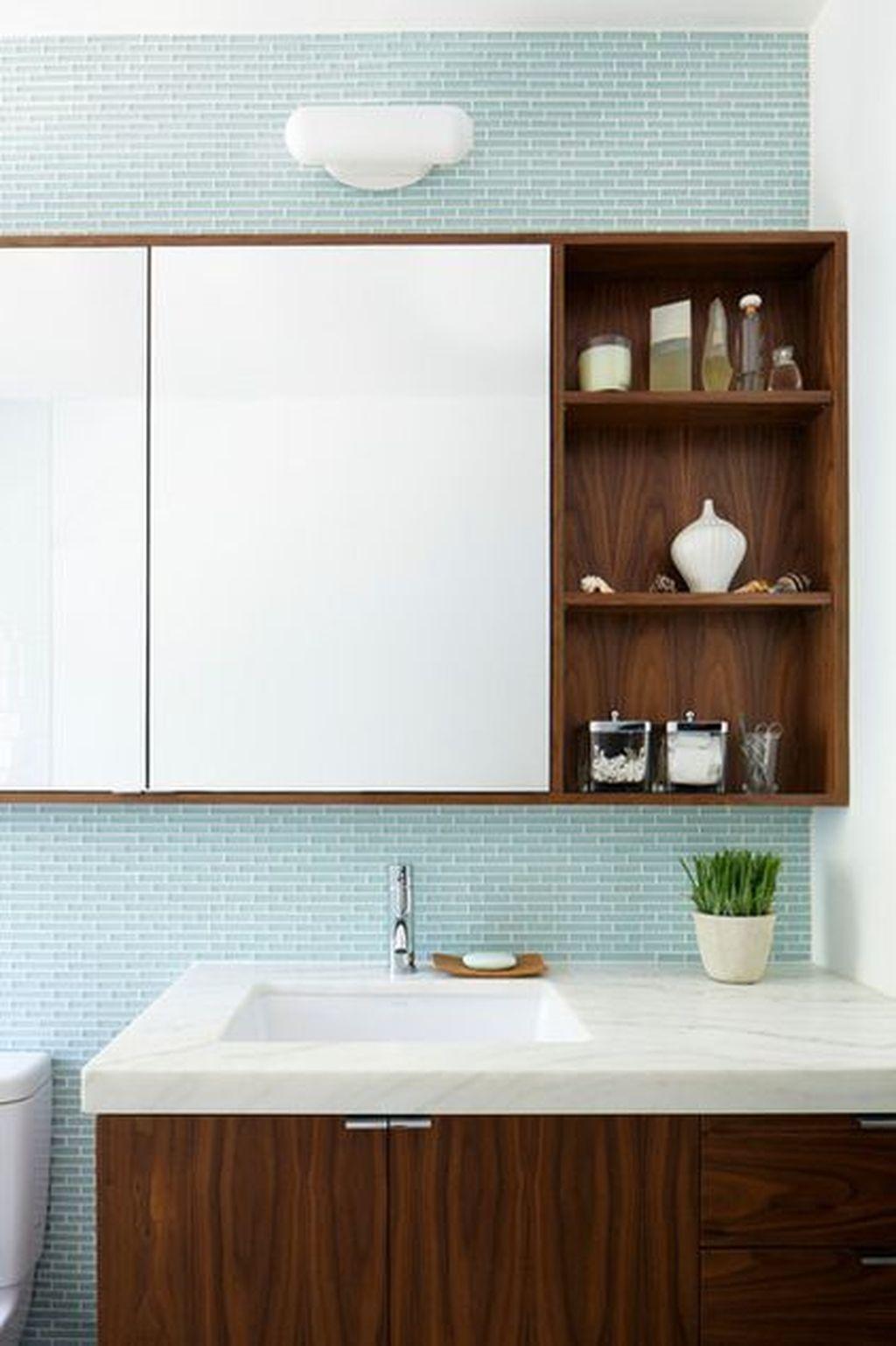 44 Beautiful Bathroom Mirror Design Ideas Bathroom Mirror Cabinet Bathroom Mirror Storage Bathroom Mirror Design