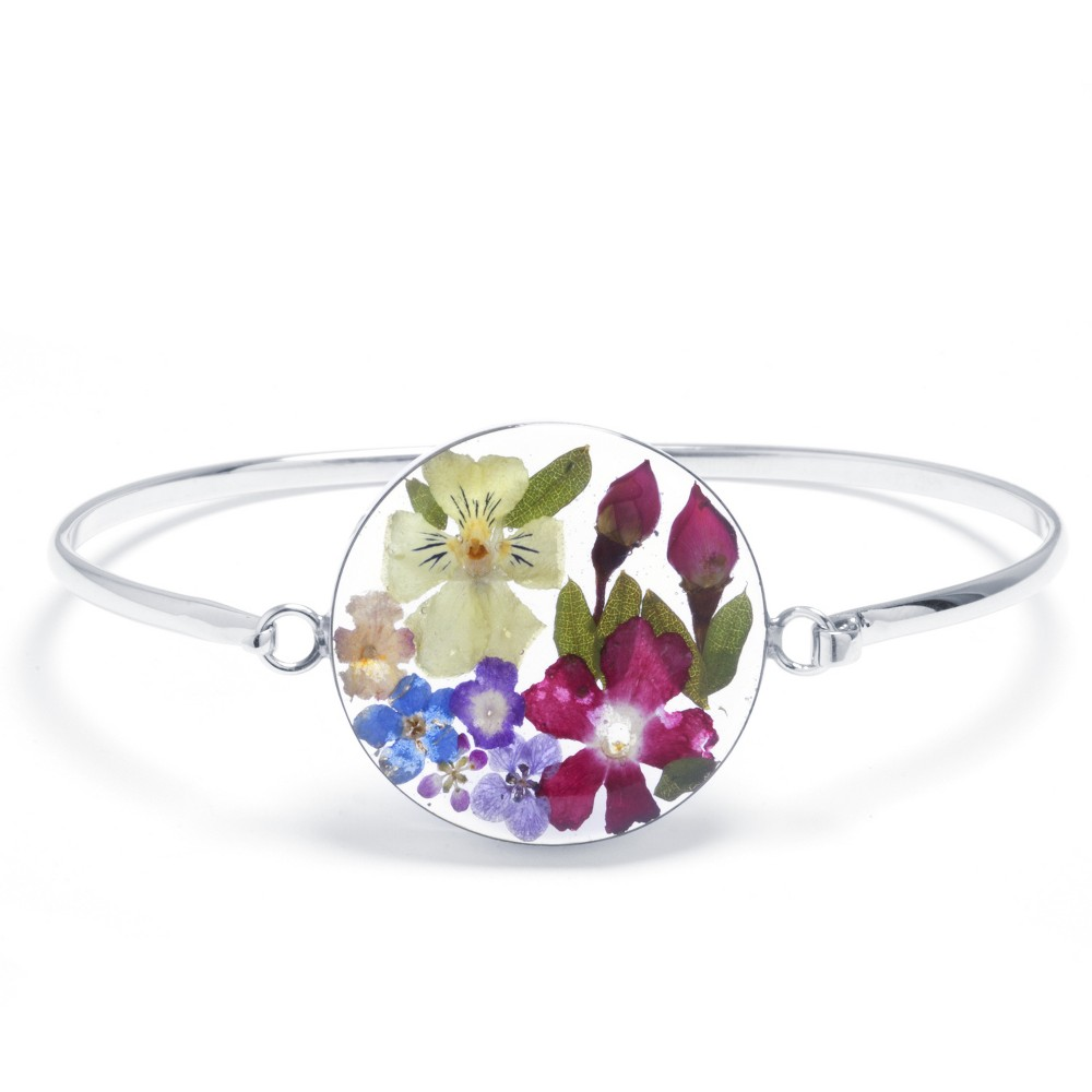 Jewels Obsession Flower Pendant Sterling Silver 25mm Flower with 7.5 Charm Bracelet