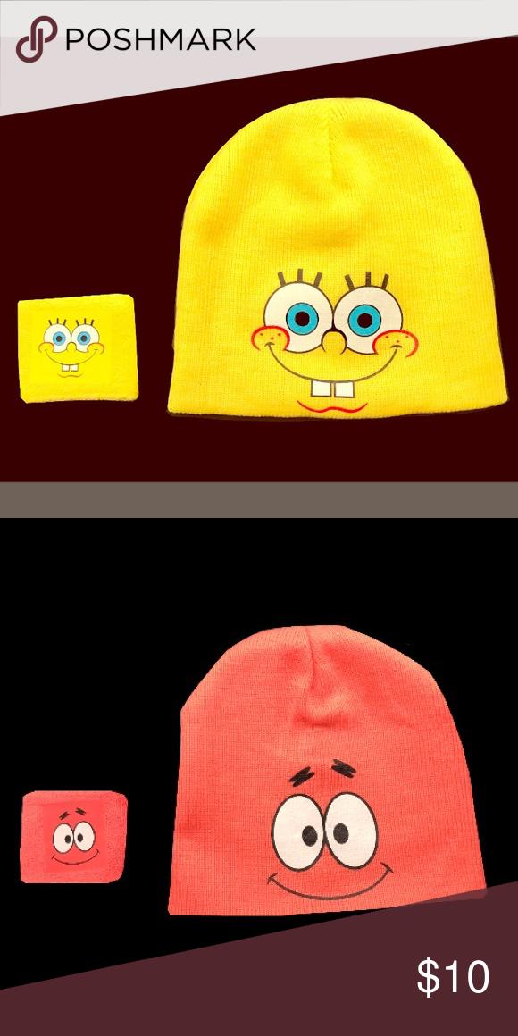 76e09fa75 Spongebob beanie and arm band. Reversible spongebob and Patrick ...